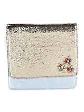 Shimmery Flap Silver Leather Sling Bag - SAISHA