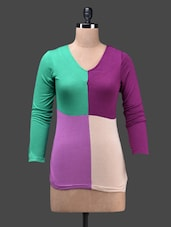 Colour Block Viscose Knit Full Sleeve Top - Glam And Luxe