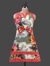 Bow Trimmed Multicolour Printed Cotton Dress - Glam And Luxe