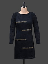 Black Poly Knit Full Sleeve Polyester Dress - Glam And Luxe