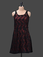 Black Lace Sleeveless Polyester Dress - Glam And Luxe