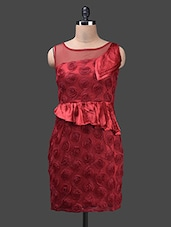 Red Poly Satin Net Cotton Dress - Glam And Luxe