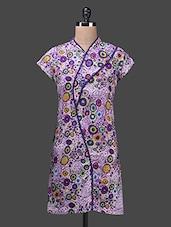 Multicolour Funnel Neck Cotton Kurta - Glam And Luxe