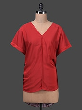Red Poly Knit Polyester V Neck High-low Top - Glam And Luxe
