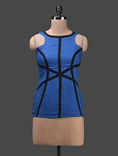 Blue Poly Cotton Sleeveless Top - Glam And Luxe