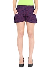 Navy Blue Polka Dotted Shorts - By