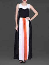 Monochrome Sleeveless Maxi Dress - Texco