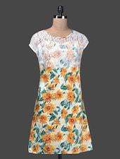 Round Neck Lace Yoke Floral Print Dress - QUEST