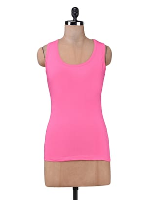 Pink cotton lycra knit tank top