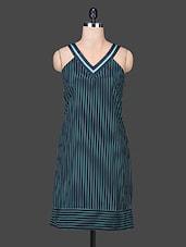 Blue V Neck Sleeveless Polyester Dress - SPECIES