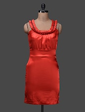 Orange Round Neck Sleeveless Dress - SPECIES