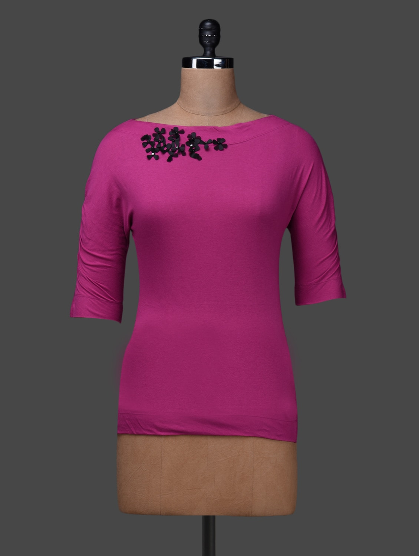 Pink Round Neck Half Sleeve Multi Blend Camisole - SPECIES