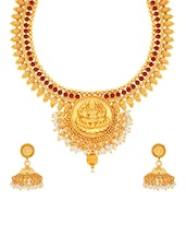 golden brass necklaces and earring -  online shopping for Necklaces and Earrings