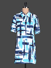 White Polyester Kurti With Blue Printed Strokes - @ 499