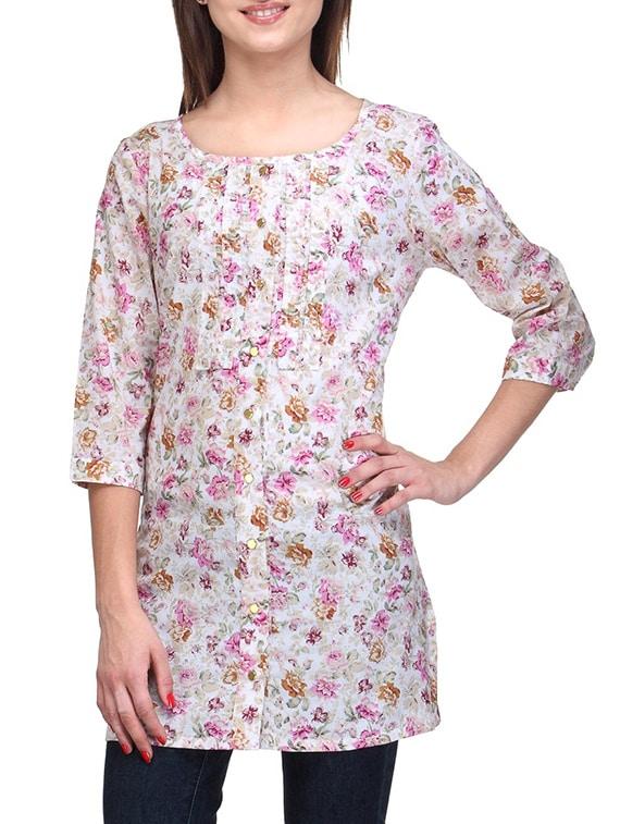 Quarter Sleeves Floral Print Tunic - Stilestreet