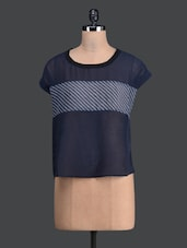 Navy Blue Sheer Round Neck Top - Label VR