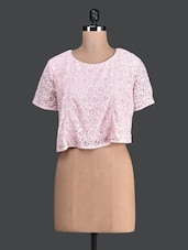 Peach Lacy Round Neck Crop Top - Label VR