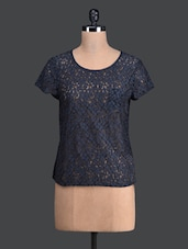 Blue Lacy Round Neck Top - Label VR