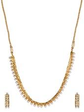 American Diamond Gold Necklace Set - Vastradi Jewels