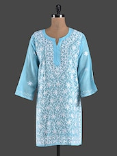 Blue Embroidered Cotton Chikan Kurti - Kiala