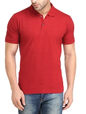 solid maroon cotton polo t-shirt -  online shopping for T-Shirts