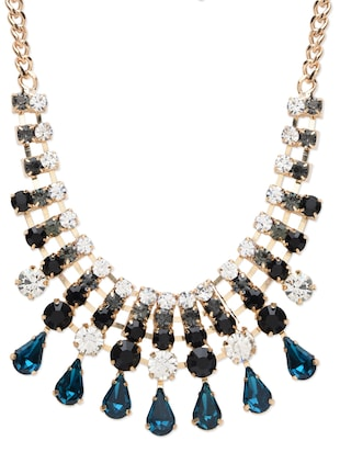 Multicolored metallic embellished necklace