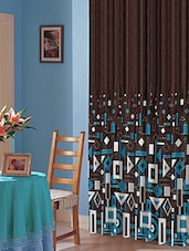 Dark Brown Polyester Geometric Print Door Curtain - By