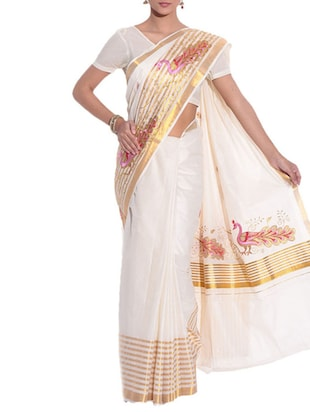beige cotton kasavu saree