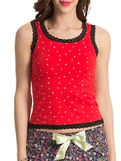 Multicolour Printed Lace Trimmed Cotton Tank Top - By