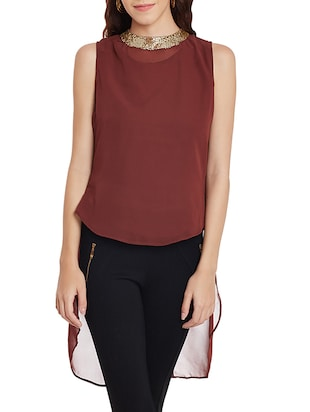 brown georgette high low top