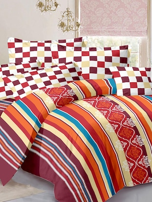 Cotton Stripes Multicolor Double Bedsheet with 2  Pillow covers