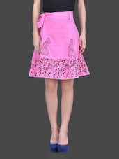 Pink Hand Block Printed Cotton Skirt - RangDesi