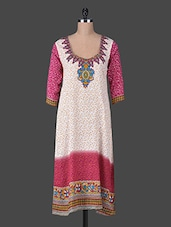 Quarter Sleeves Floral Border Cotton Kurta - Delena Designs