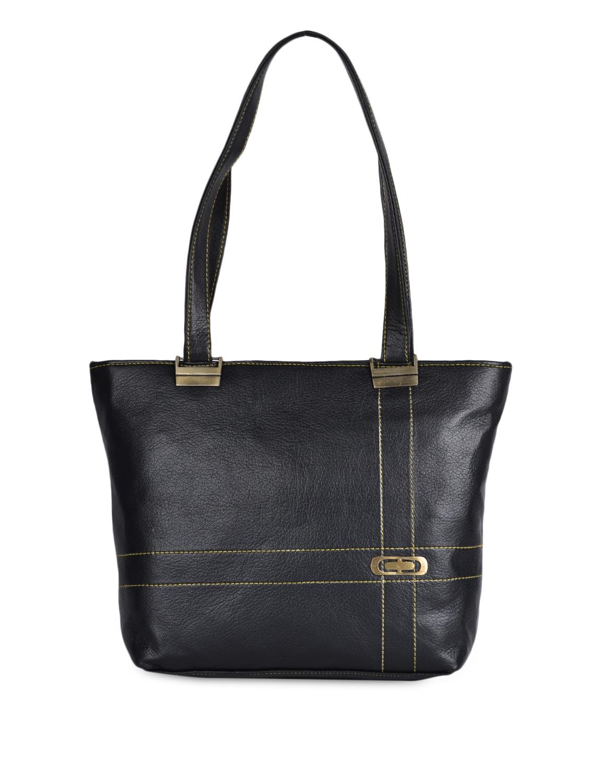 Solid Black Leatherette Handbag - Coash