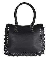 Wavy Edge Solid Black Handbag - Coash