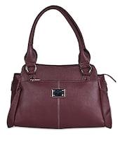 Solid Maroon Leatherette Handbag - Coash