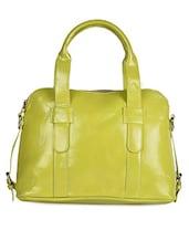 Solid Green Leatherette Handbag - Coash