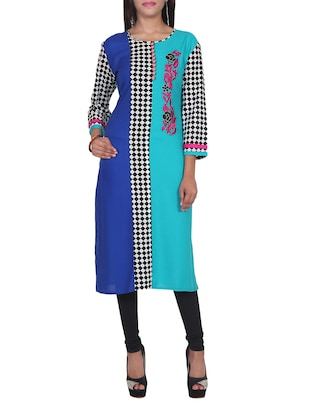 blue printed and embroidered rayon kurta