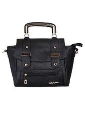 Black Leatherette Shoulder Bag - By