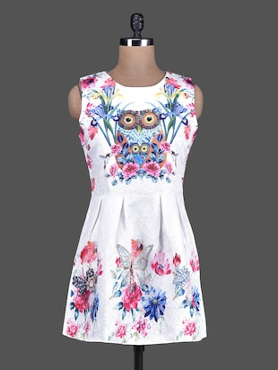 Owl Printed White Pleated A-Line Short Dress