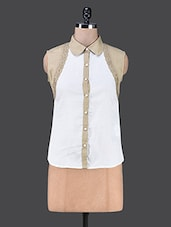 Colour Block Sleeveless Shirt - The Cleavage