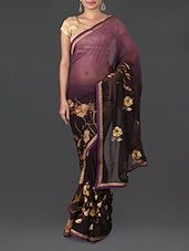 Floral Detail Purple Tone Art Silk Saree - By