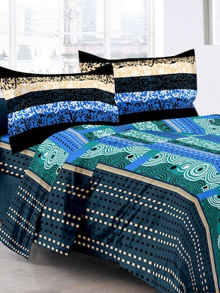 Cotton Traditional Blue Double Bedsheet With 2 Pillow Covers