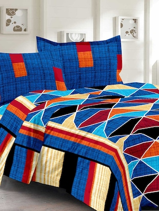 Cotton Traditional Multi Double Bedsheet With 2 Pillow Covers