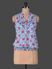 Blue Poly Crepe Apple Printed Button Top - SS