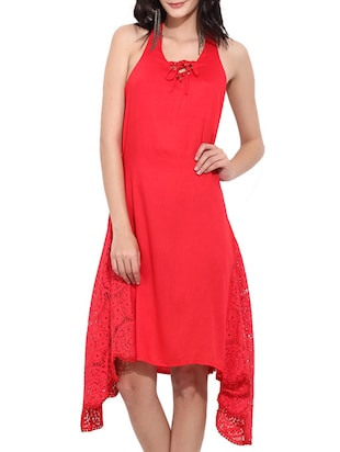 red cotton assymetric dress