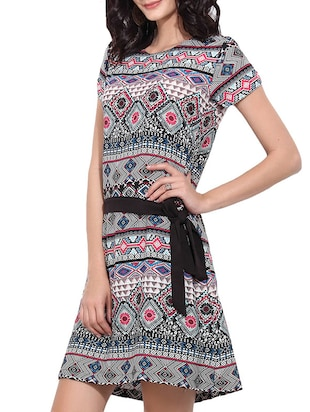 black printed belted dress - 11532390 - Standard Image - 2