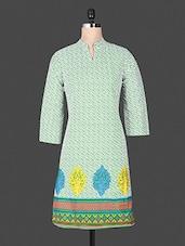 Mandarin Color Quarter Sleeve  Printed Cotton Green Kurta - ANJANI KURTIS