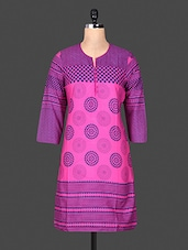 Quarter Sleeve Funnel Neck Printed Purple Kurta - ANJANI KURTIS