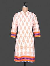 Mandarin Color Quarter Sleeve Block Print Kurta - ANJANI KURTIS
